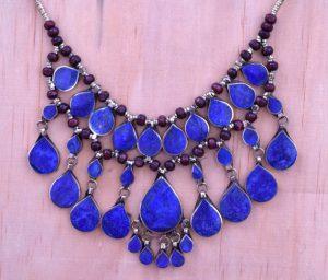 Cassidy Bib Necklace,Afghan Kuchi Blue Lapis Necklace,Kuchi Jewelry,3 Strand,Bohemian,Hippie,Ethnic Necklace,Festival,Boho Gypsy Necklace - SEK 540